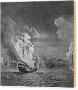 Burning Of The 'prudent' At  Louisbourg Wood Print