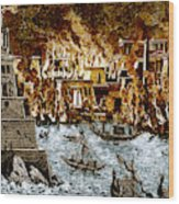 Burning Of The Royal Library Wood Print