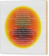 Burning Orb With Poem Wood Print