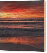 Burning Red Sunset Wood Print