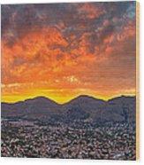 Burning Sicilian Sunset Wood Print by Viacheslav Savitskiy