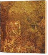 Burnished Tigers Wood Print
