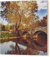 Burnside Bridge At Autumn Sunset Wood Print