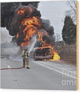 Bus Fire Wood Print by Steven Townsend