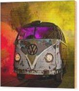 Bus In A Cloud Of Multi-color Smoke Wood Print