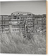 Bus Stop On Route 66 In Oklahoma In Black And White Wood Print