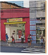 Bus Stop On Rua Teodoro Sampaio Wood Print