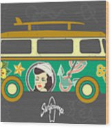Bus With Surfboard Wood Print