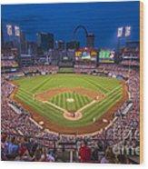 Busch Stadium St. Louis Cardinals Night Game Wood Print