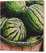 Bushel Full Of Melons Wood Print