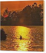 Bushfire Sunset Over The Lake Wood Print