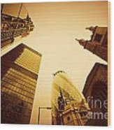 Business Architecture Skyscrapers In London Uk Golden Tint Wood Print
