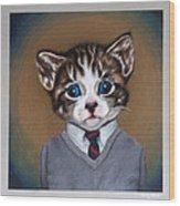 Business Casual Kitten Wood Print