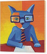 Business Cat Wood Print by Mike Lawrence