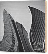 Business Skyscrapers Abstract Conceptual Architecture Wood Print by Michal Bednarek
