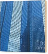 Business Skyscrapers Modern Architecture In Blue Tint Wood Print by Michal Bednarek