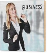 Business Woman In The Office Wood Print