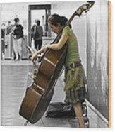 Busking Parisian Cellist Wood Print