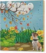 Buster And The Tree Wood Print