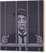 Buster Keaton Painting Wood Print
