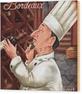 Busy Chef With Bordeaux Wood Print