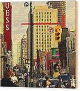 Busy Downtown Toronto Morning Cross Walk Traffic City Scape Paintings Canadian Art Carole Spandau Wood Print