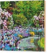 Butchart Gardens In The Rain Wood Print