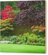 Butchart Gardens Lawn And Tree Wood Print