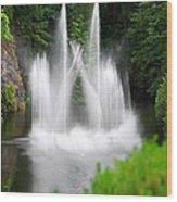 Butchart Gardens Waterfalls Wood Print