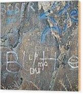 Butte Graffiti Wood Print