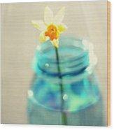 Buttercup Photography - Flower In A Mason Jar - Daffodil Photography - Aqua Blue Yellow Wall Art  Wood Print