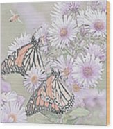 Butterflies And Bee Wood Print