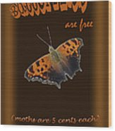 Butterflies Are Free Wood Print by Larry Bishop
