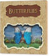 Butterflies Button Wood Print