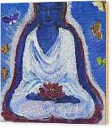 Butterflies Dream Of Buddha Wood Print