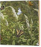 Butterflies In Golden Garden Wood Print