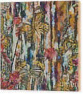 Butterflies In Plum Blossoms And Texture Wood Print