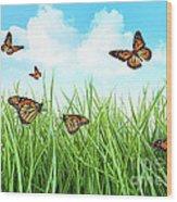 Butterflies In Tall Wet Grass  Wood Print