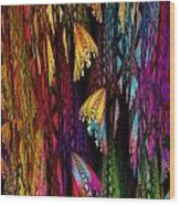 Butterflies On The Curtain Wood Print