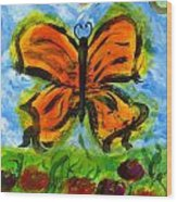 Butterfly And Dragonfly Wood Print