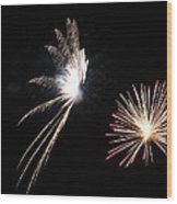 Butterfly And Flower Fireworks Wood Print