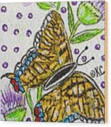 Butterfly And Thistles Wood Print