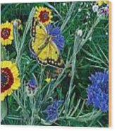 Butterfly And Wildflowers Spring Floral Garden Floral In Green And Yellow - Square Format Image Wood Print