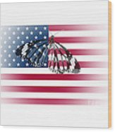 Butterfly Embedded With Usa National Flag Wood Print