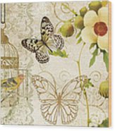Butterfly Green Collage Wood Print by Grace Pullen