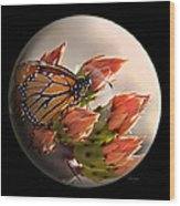 Butterfly In A Globe Wood Print