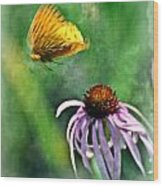 Butterfly In Flight Wood Print by Marty Koch