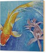 Butterfly Koi With Orchids Wood Print by Michael Creese