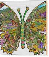 Butterfly Meadow Green Wood Print