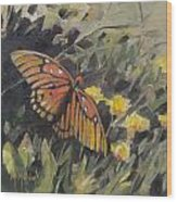 Butterfly Meadow With Yellow Flowers Wood Print